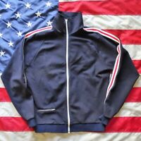 Vintage Track Jacket 1980s Mens Size Large zippered high cut