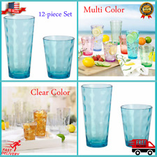 Tritan Drinkware 12-Piece Set Tumbler Coloured BPA FREE NEW