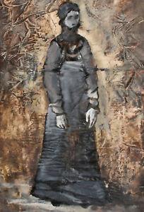 Vintage expressionist portrait gouache painting costume design