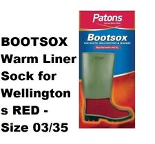 PATONS BOOTSOX Warm Liner Sock for Wellingtons RED - Size 03/35