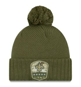 New Orleans Saints NFL Football Salute to Service Womens OSFA Olive Hat Beanie