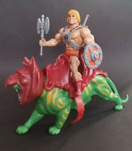 HE-MAN & BATTLECAT Vintage MOTU Masters Of The Universe 1981 by Mattel