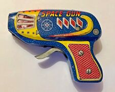 Vintage Old Rare Friction Fire Sparkling Cosmic Space Gun Litho Print Tin Toy