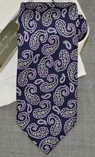 DANIEL CREMIEUX Navy Lilac White PAISLEY Handmade SEVEN FOLD Woven Silk Tie NWT