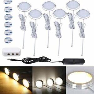 3/6PCS Under Cabinet Lights Kit LED Kitchen Counter Closet LED Puck Display Lamp