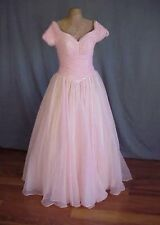vtg M  Pink Silk Tulle Organza Gown Dress
