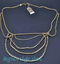 Fossil Brand Necklace Vintage Revival Gold Tone Chain Crystal Statement Layered