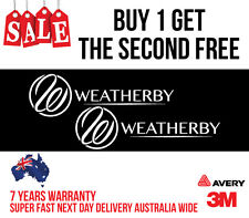2 x WEATHERBY HUNTING DECAL STICKER FOR CAR, UTE, ESKY 200MM WIDE IN WHITE