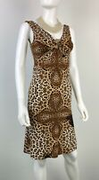 Roberto Cavalli 4 US 40 IT S Brown Animal Print Stretch Bodycon Dress Runway