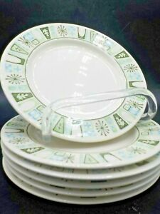 """6 Vtg Mid Century Taylor Smith & Taylor Cathay 6.5"""" Side Plates Grn  Blue Exc #1"""