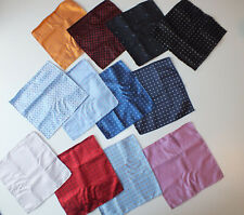 New 100% silk pocket square 25 cm pink blue white black polka dot 12 quantity