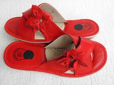 Pantolette - Hausschuhe  Gr.39,5 Echt LEDER Rot *Komfortweite* (PL.25-4-5-24)