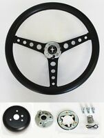 "1970-1977 Mustang Black on Black Steering Wheel 14 1/2"" Mustang cap Horn Kit"