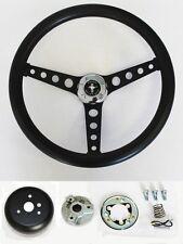 """1970-1977 Mustang Black on Black Steering Wheel 14 1/2"""" Mustang cap Horn Kit"""