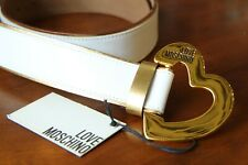MOSCHINO Women's 100% Leather White Belt Size 85 Free P&P Italy Made New w Tags