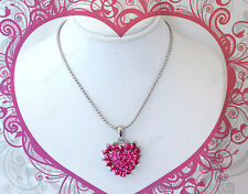 ROSE PINK CRYSTAL RHINESTONE SILVER HEART PENDANT NECKLACE VALENTINES DAY GIFT