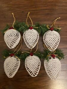 Set Of (6) White Crocheted Christmas Ornaments Sphere w/Pine Greenery And Ribbon