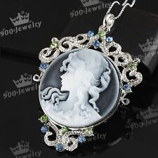 1x Crystal Rhinestone Cameo Beauty Lady Girl Pendant Charms For Necklace Chain