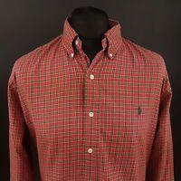 Polo Ralph Lauren Mens Vintage Shirt XL Long Sleeve Red Custom Fit Check Cotton