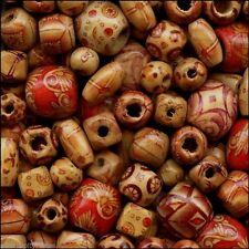 100 Bamboo Craft Art Beads Mixed Shapes / Sizes Pattern (Lightweight Strong Wood