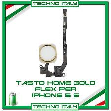 TASTO HOME BUTTON COMPLETO FLAT FLEX PER APPLE IPHONE 5S BOTTONE ORO GOLD