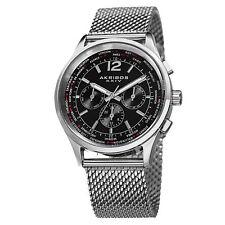Men's Akribos XXIV AK716 Multifunction Day Date Stainless Steel Mesh Watch Black