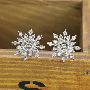 Women's Silver Rhinestone Crystal Snowflake Flower Stud Earring Jewelry WD