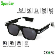Spardar Smart Glasses 8GB with Bluetooth 4.0 & HD 1080p Cam recorder - BLACK V1