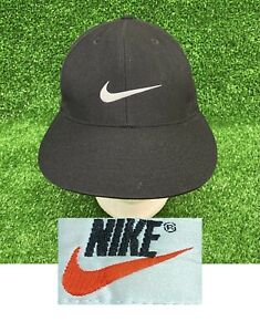 Vintage 90s Nike Classic Swoosh Fitted Wool Hat 4 1/4 Black Green Under Brim