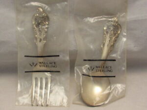 VINTAGE WALLACE GRAND BAROQUE STERLING SILVER BABY FORK & SPOON SET NOS