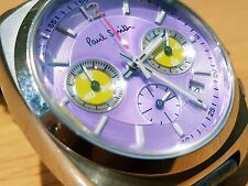 Vintage Lady Pink Paul Smith Racing Analog Chronograph Date Sport Watch Japan