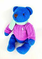 Ralph Lauren Teddy Bear 2004 Polo Knit Blue Purple Sweater Scarf Plush Animal