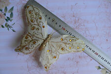 CREAM & GOLD BUTTERFLY with Hair Clip - Wing Span Feathers170mm Wide & 110mmTall