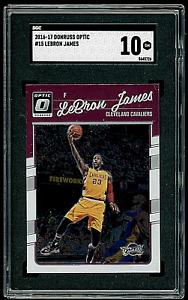 2016-17 Panini Donruss Optic LeBron James #15 SGC 10 Gem Mint w/Kobe Bryant