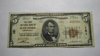 $5 1929 Hartford Connecticut CT National Currency Bank Note Bill! Ch. #121 FINE