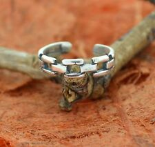 Chain Design Toe Ring-Sterling Silver-Knuckle,Adjustable,Beach,Toe,Antique,Cute