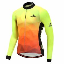 Men's Long Sleeve Bicycle Shirts Reflective Cycling Jersey Top Orange-Yellow