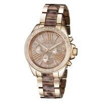 New Michael Kors Wren Rose Gold Crystal Chrono Dial Tortoise Women Watch MK6159