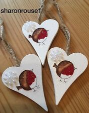 3 X Robin Christmas Hanging Decorations Country Shabby Chic With Snowflakes