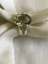 STERLING SILVER 925 OVAL CUT GREEN  AMETHYST RING SIZE 9 WITH WHITE TOPAZ