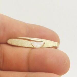 -Gold Tone & Mother of Pearl Vintage SMALL SWANK Tie Bar Clip simple plain basic