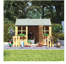Kids Outdoor Playhouse Childrens Wooden Wendy House Cottage Fence Garden 6 x 4