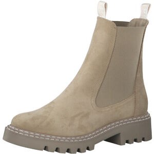 Tamaris Boots Stiefelette ankle Boots beige Leder NEU chelsea chunky boot must