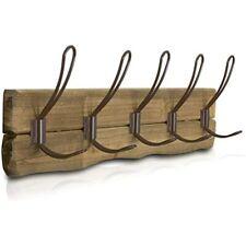 Lulind - Rustic Wall Mounted Coat Rack With 5 Brown Hooks (Real Cedar Wood)