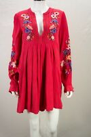 """Free People size SMALL S Red Embroidered """"Mia Gauze"""" Mini Dress NEW NWT"""