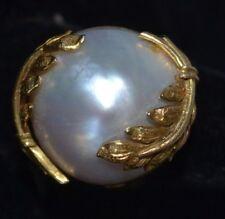 Vintage 14K Gold Leaf Pearl  Baroque Ring Size 6