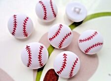 """20pcs Plastic Buttons Baseball Sport Craft Sewing White Red Shank 5/8"""""""