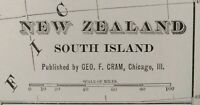 "Vintage 1900 NEW ZEALAND SOUTH Map 11""x14"" ~ Old Antique Original CHRISTCHURCH"