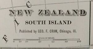 "Vintage 1900 NEW ZEALAND SOUTH Map 11""x14""  Old Antique Original CHRISTCHURCH"