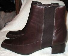 """NICE! **ANNE KLEIN**  """"Vandals"""" Brown Leather Ankle Boots,1 3/4"""" Heel S.6.5 M"""